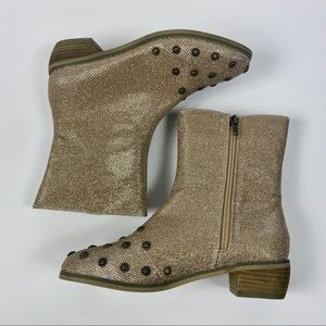 JoyFolie | Kid's Gold Sparkly Studded Ankle Boots